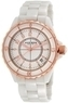 Women's Akribos Ceramic White w/ Rose Gold Trim Dress Watch