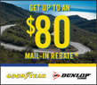 Tire Rack - Up to an $80 Mail-in Rebate w/ 4 Good Year or Dunlop Tires