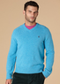 Men's Saddle Raglan V-Neck Sweater