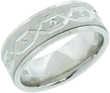 White Rhodium Plated Mens Diamond Cut Ring