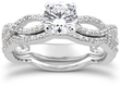 1.0 ct Infinity Twist Micropavé Diamond Engagement Ring Set