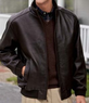 Men's Signature Raglan Sleeve Unlined Lambskin Bomber Jacket