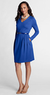Women's Regular Pleat Shoulder Drapey Ponte V-neck Dress