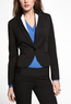 One Button Peplum Seamed Jacket