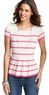 Striped Peplum Hem Short Sleeve Sweater