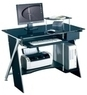 Lonshine Tempered Glass Top Computer Desk w/ Steel Frame