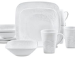Corelle Cherish Embossed Square 16 Piece Set Dinnerware