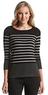 Cable & Gauge Women's Striped Shoulder-Zipper Sweater